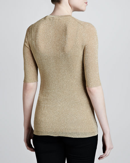 Metallic Half-Sleeve Sweater