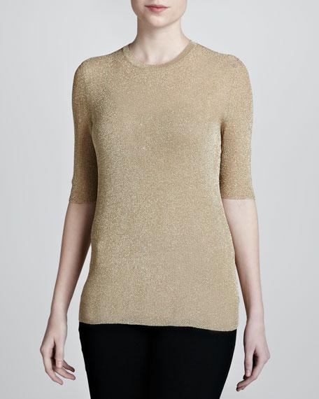 Metallic Half-Sleeve Sweater