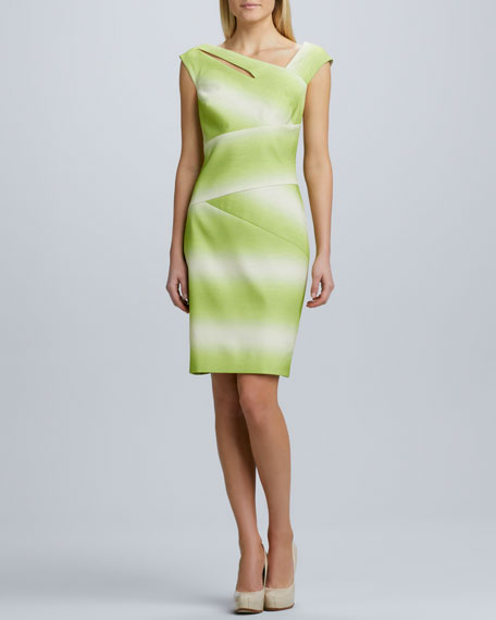 Ombre Asymmetric Cocktail Dress