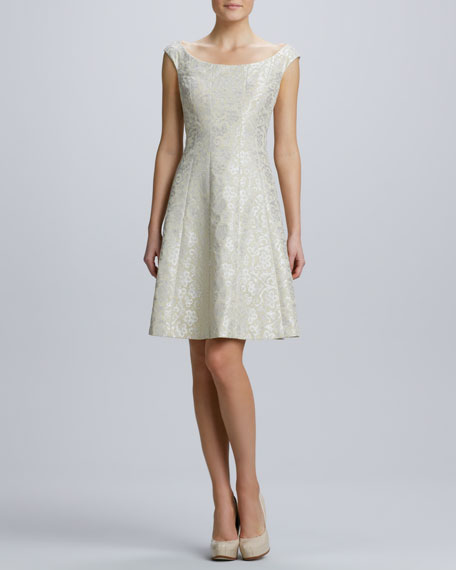 Jacquard Cap-Sleeve Cocktail Dress