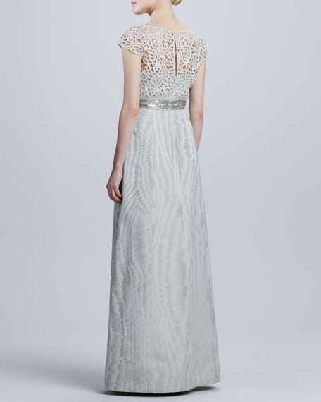 Cap-Sleeve Lace Bodice Gown