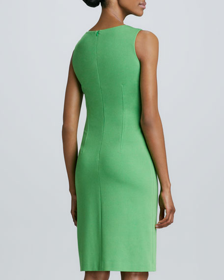 Sleeveless Jewel-Neck Dress