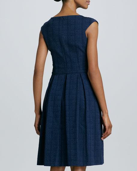 Asymmetric-Neck Belted Full-Skirt Dress