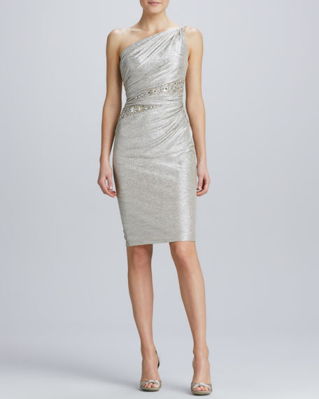 One-Shoulder Beaded-Waist Cocktail Dress