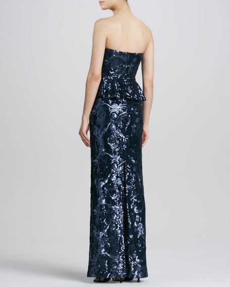 Sequined Floral Strapless Peplum Dress