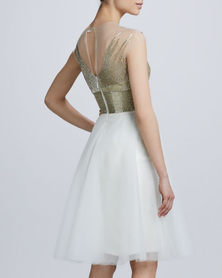 Beaded V Neck Cocktail Dress with Tulle Skirt