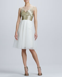 Monique Lhuillier Beaded V Neck Cocktail Dress with Tulle Skirt
