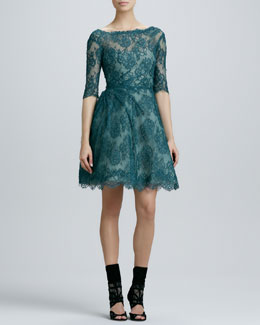 Monique Lhuillier Lace Ruched Cocktail Dress