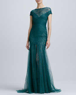 Monique Lhuillier Short-Sleeve Lace & Tulle Gown