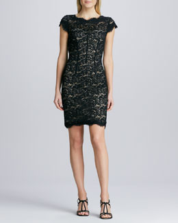 ML Monique Lhuillier Lace Sheath Cocktail Dress