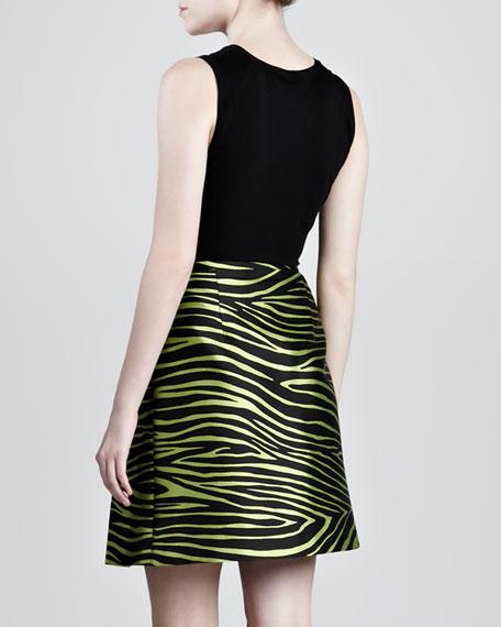 Zebra-Print Shantung A-Line Skirt
