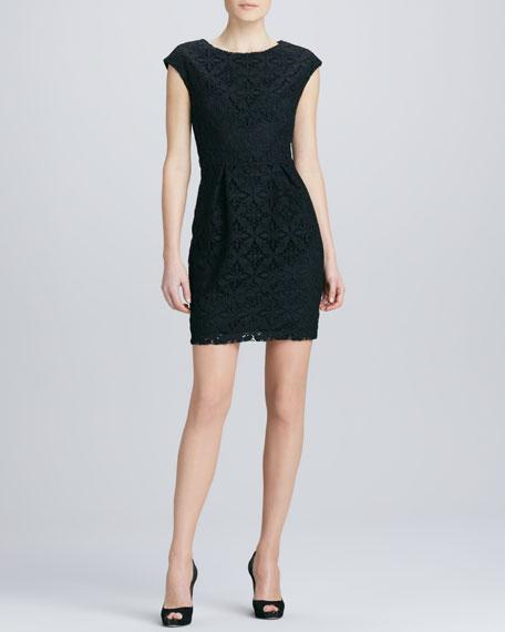 Jewel-Neck Cap-Sleeve Lace Dress