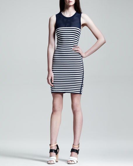 Giselle Mesh-Inset Striped Dress