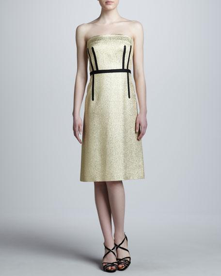 Metallic Strapless A-Line Dress