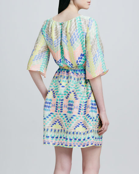 Estee Flutter-Sleeve Belted Dress