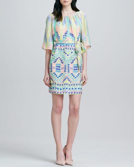 Estee Flutter-Sleeve Belted Dress