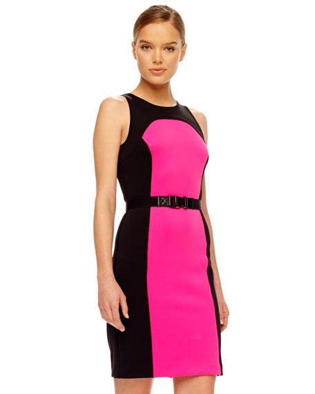 Contrast-Panel Ponte Dress