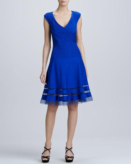 Illusion-Hem Full Skirt Cocktail Dress