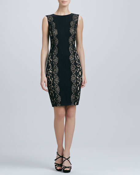 Sleeveless Lace-Panel Cocktail Dress