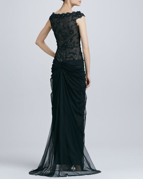 Floral Lace Overlay Chiffon Gown