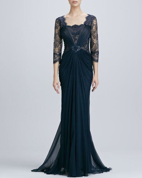 Lace Overlay Illusion Gown