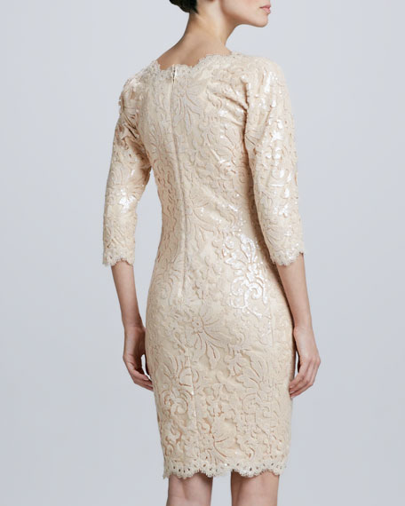 Sequined Lace Cocktail Dress, Jute