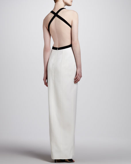 Two-Tone Crepe Cutout Gown
