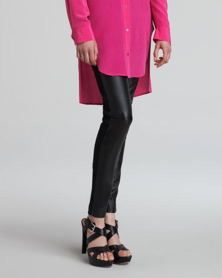 Faux Leather-Front Denim-Back Leggings, Black