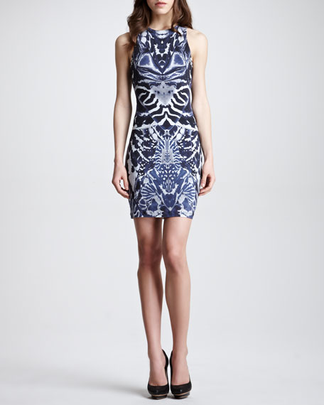 Symmetric-Print Racerback Dress, Navy/White