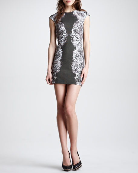 Lace-Print Cap-Sleeve Sheath Dress, Black/Gray