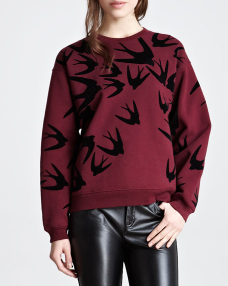 Flocked Swallow Cotton Sweatshirt, Oxblood