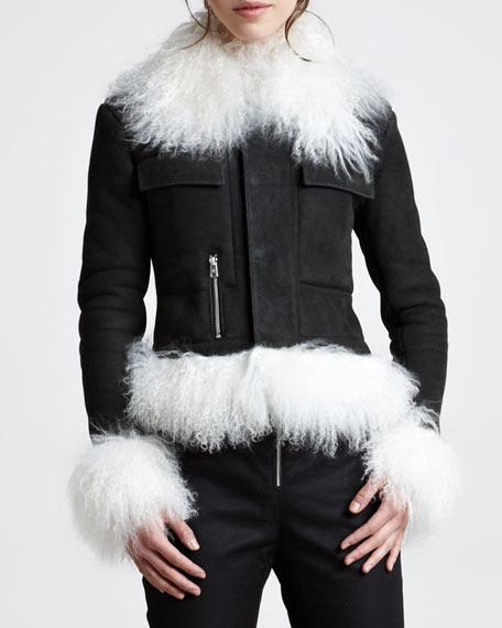 Shearling-Trim Moto Jacket