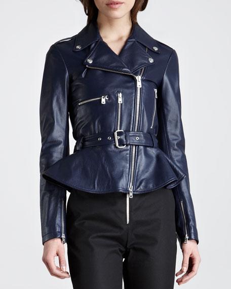 Peplum Leather Moto Jacket, Marine Blue