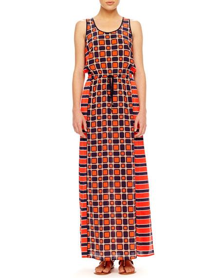 Mix-Print Maxi Dress