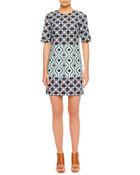 Print-Block Crepe Dress