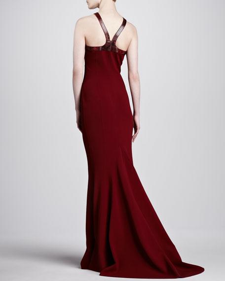 Faux-Python Halter Gown, Cinnabar