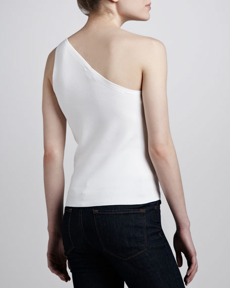 One-Shoulder Tank, White