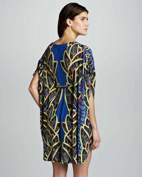 Printed Drawstring Poncho Coverup