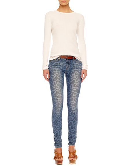 Paisley-Print Skinny Jeans, Women's