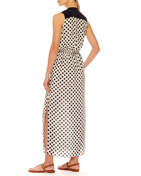 Pajama-Print Maxi Dress