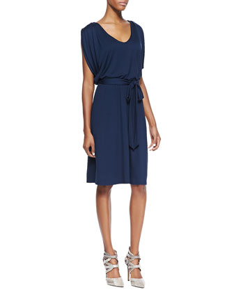 Blouson V-Neck Dress with Tie