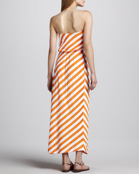 Susana Monaco Diagonal-Stripe Strapless Maxi Dress