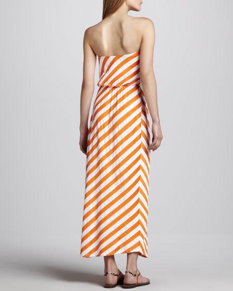 Diagonal-Stripe Strapless Maxi Dress