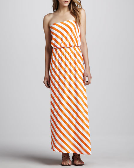 Diagonal-Stripe Strapless Maxi Dress