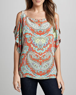 SW3 Bespoke Cold-Shoulder Paisley Top