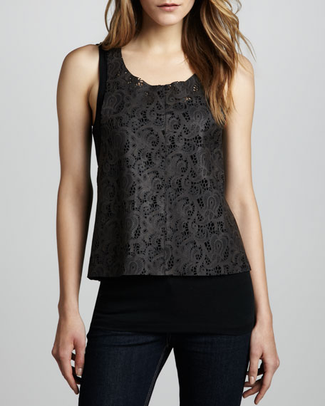 Moonless Nights Leather-Lace Tank