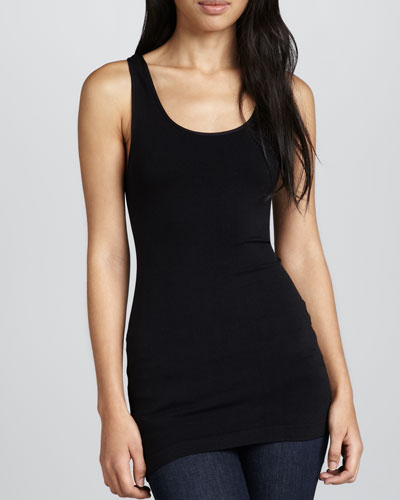 Cusp by Neiman Marcus Formfitting Jersey Tank, Black