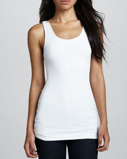 Cusp by Neiman Marcus Formfitting Jersey Tank, White
