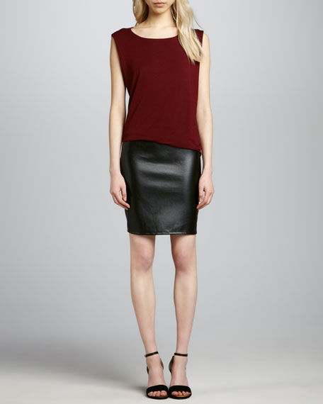 Leather-Skirt Combo Dress