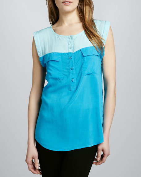 Two-Tone Loose Blouse